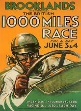 Brooklands voiture course vintage poster t-shirt adulte, femmes & enfants tailles 1000 miles
