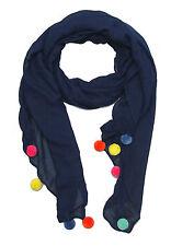 niedlicher Damen Schal mit bunten Bommeln Bommel Tuch Frühling Sommer Herbst