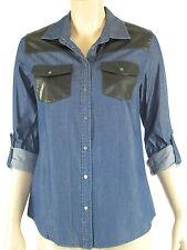 Sportsgirl Ladies Long Sleeve Denim Patch Shirt sizes 6 8 Colour Dark Blue