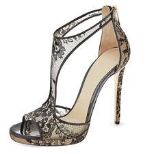 Womens Lace Mesh High Heels T-Strap Peep Toe Stilettos Sandals Fashion Shoes