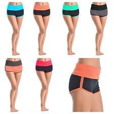 Women's Yoga Shorts Two Tone Gym Sports Pants Fitness Workout 95% Cotton S M L
