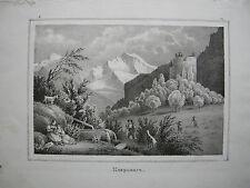Unspunnen Wilderswil Bern Interlaken Orig Lithografie Weibel-Comtesse 1838