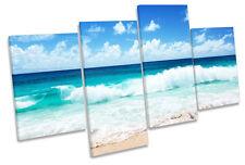Sandy Beach Surf Wave Azul Lona Pared Arte Cuadro Enmarcado de múltiples