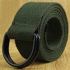 Herren Damen Leinengürtel Metall D-ring Buckle Gewoben Militär Armee