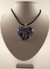 "Various 925 Silver Foil Glass Heart Pendants & 18"" Black Leather Cords."