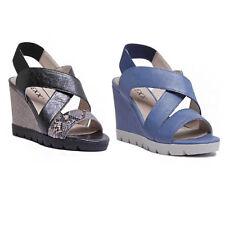 The Flexx Came Lot Women Leather Matt Black Dune Gold Strappy Wedge Sandals