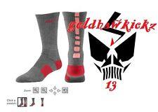 Nike hyper Elite Basketball Crew Socks charcoal Heather Atomic Pink Noble Red