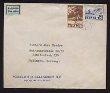 ICELAND 1952 2kr 50 AIR COVER to GERMANY...ELLINGSEN