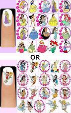 60x DISNEY PRINCESSES or FAIRIES Nail Art Decals + Free Gems Princess Cinderella