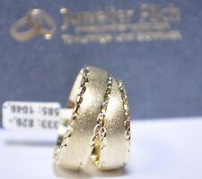 1 Paar Gold 585 Trauringe Sandmattiert mit blitzendem diamantiertem Muster