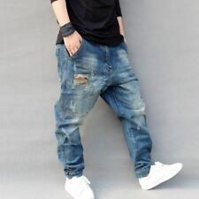 Uomo Cavallo Basso Denim Usurato Pantaloni Larga Harem Jeans Affusolati Casual