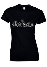 capelli Salon disegno con cristalli aderente donna t shirt (tutte le taglie)