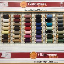 250m Gutermann Cotone Naturale Filo - Scelta di 42 Colori