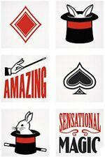 Magic Tricks tatouages temporaires-Wizard Fête Sac Remplissage Pack Tailles 6-36