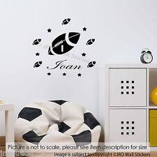 RUGBY BALL Personalizzata Nome Adesivi Da Parete In Vinile Decalcomanie Kids Nursery Room ARTE