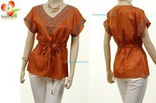 Mocha Orange Renaissance Cotton Embroidered Drawstring Peasant Blouse Shirt Top