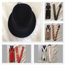 1920's Mafia Fancy Dress Costume Set Gangster Hat Suspenders Tie Party Dress Up
