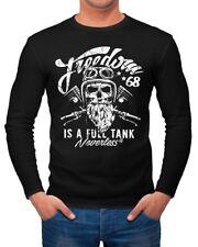 Herren Long-Sleeve Biker Motorrad Motiv Freedom is a full Tank Skull Totenkopf
