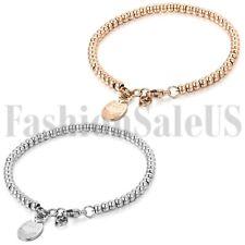Women's Stainless Steel Lucky Cat Maneki Neko Dangle Beads Chain Bracelet Gift