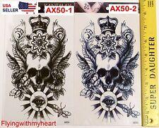 Large Tattoo Demon Lord Skull Mystic Eyes Bee Devil Crown Waterproof Sticker