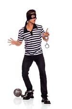 BIG SALE 3 pc Prisoner Jail House Men's Halloween Costume Shirt Handcuffs Mask