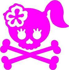SMALL PINK Vinyl Decal Girl skull crossbones bow biker flower truck fun sticker