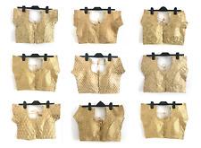 Gold Pattern Indian Wedding Sari Saree Blouse Crop Top Choli 10/12 prêts