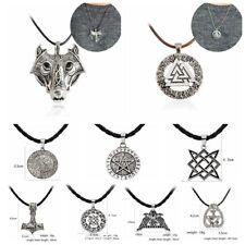 Blessing Wolf Rune Amulet Pendant Necklace Leather Rope Norse Vikings Myth