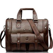 "Men Leather Business Briefcase Bag Tote 15""laptop Bag Travel Luggage Bag"