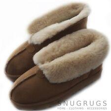 Femmes luxe peau de mouton chaussons bottine dur semelle woolcuff