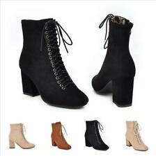 US 4-12 Women Ankle Boots Lace Up Suede Zipper Block Heel Outdoor Winter Pumps