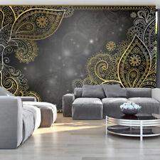 Fotomural de papel Tejido no tejido Murales GRIS MANDALA ORNAMENTO f-A-0146-a-d