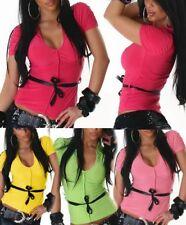 Sexy Miss señora Girly top camisa V amarra cinturón 34/36/38 Pink amarillo verde rosa nuevo