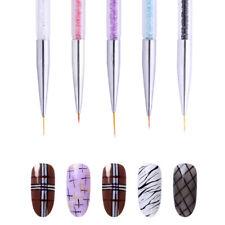 Dual-ended Nail Art Liner Brush Drawing Dotting Tool Colorful Rhinestone Handle