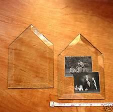 (4) 6-1/4 Tall x 4-1/4 wide House Shape Glass Bevels Add Family Portrait as Art