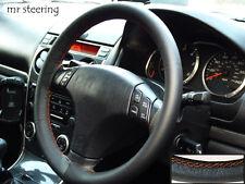 Para Mazda Premacy 99-04 Negro Cuero Italiano cubierta del volante puntadas de hilo naranja
