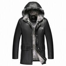Winter Men's Warm Leather Jacket Hooded Rabbit Wool Fur Lined Outwear Parka Coat