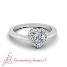 .60 Ct Heart Shaped Halo FLAWLESS Diamond Elegant Engagement Ring 14K Gold GIA