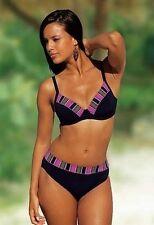 Sunflair Bügel Bikini Set Gr.36 Cup-D NEU Schwarz Lila Slip Oberteil Stretch