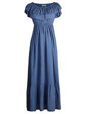 Womens Boho Peasant Ruffle Stretchy Short Sleeve Maxi Long Dress