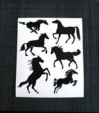Kit 6 Adesivi Cavalli auto murale scooter decal vynil casco cavallo horse horses