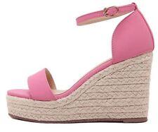 Sandali donna aperti rosa fcorda zeppa plateau 9 cm eleganti comodi 8178