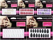 Nailhur Stiletto Designs #5 - Almond Press On Resusable Nail Tips Kit with Glue