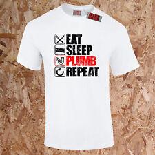 EAT SLEEP PLUMB REPEAT T-Shirt Funny Heating Tradesman Plumber Water Gift S-5XL