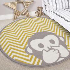 Kids Yellow Ochre Mustard Round Bedroom Rug Circle ZigZag Circular Nursery Mats