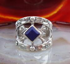 Anillo Egipcio Plata Esterlina 925 Lapislázuli Azul Cuadrado Piedra de Amistad