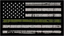 Thin Green Line Military American Flag Distressed Vinyl Decal Car Window Sticker