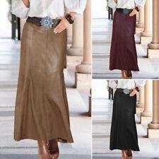 Damen Lang Rock Röcke Leder Fischschwanzrock Zipper Kleid Plain Freizeit Rock