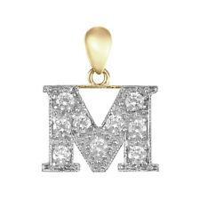 Jewelco London Oro Amarillo 9k zirconia cúbica inicial colgante