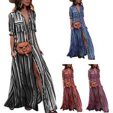 Women Button Striped Print Maxi Dress Casual Loose Short Sleeve Long Shirt Dr DS
